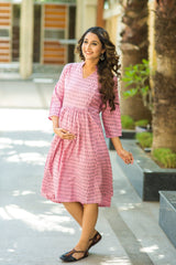 Pink Ikat Print Maternity and Nursing Tunic