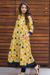 Daffodil Yellow Abstract Nursing Kurta