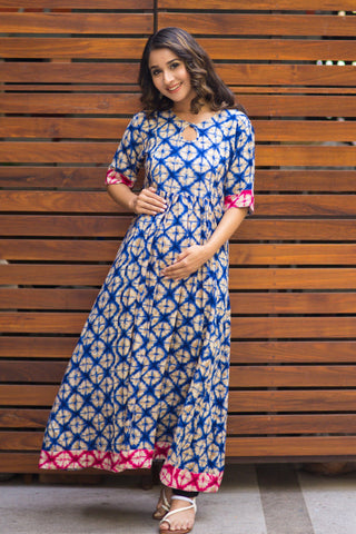 Abstract Saphire Blue Concealed Zip Nursing Kurta