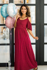 Burgandy Cold Shoulder Maternity Maxi Dress