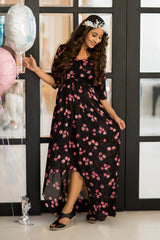Midnight Rose Hi-Low Maternity & Nursing Wrap Dress