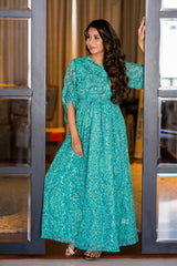 Green Mesh Luxe Maternity & Nursing Wrap Dress