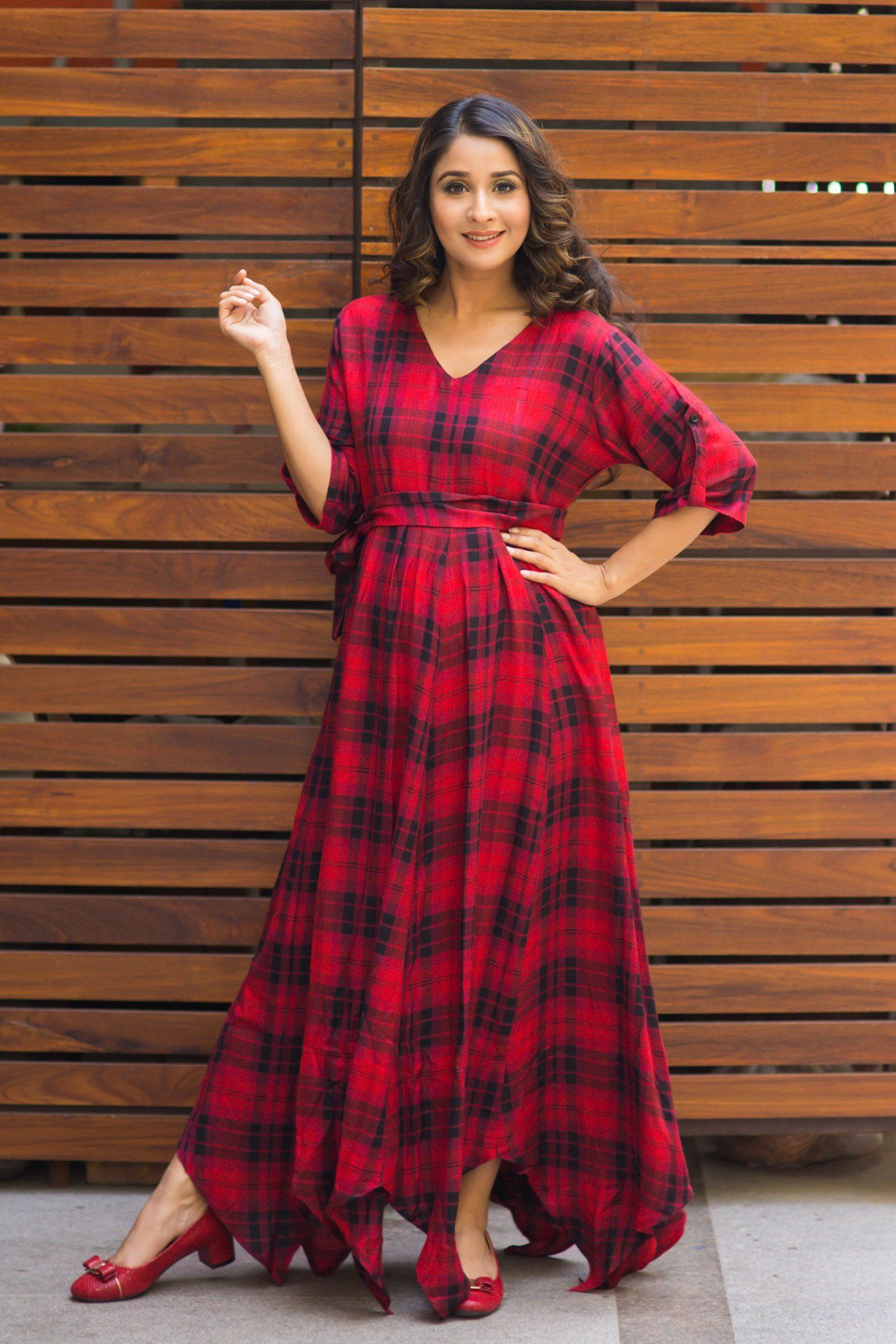Classic Red Plaid Maternity & Nursing Maxi Dress