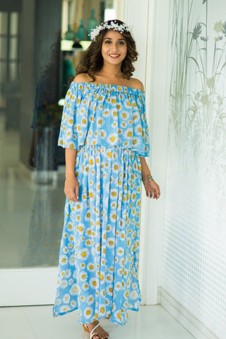 Sun flower Off-Shoulder Maternity Maxi Dress