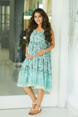 Sea Green Layered Maternity & Nursing Dress