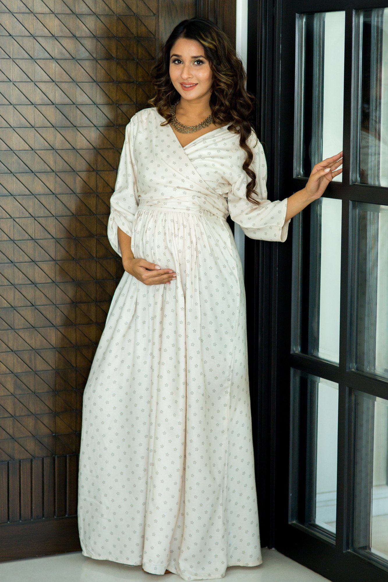 Serene Off White Maternity & Nursing Wrap Dress