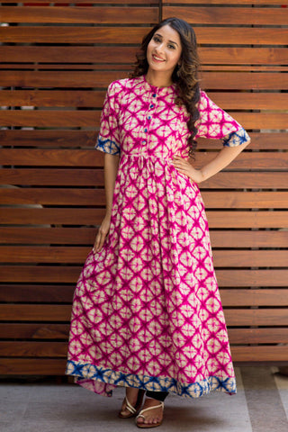 Abstract Pink Maternity and Nursing Kurta