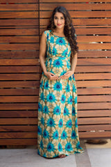 Sea Breeze Baltic Maternity & Nursing Maxi Dress