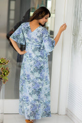 Ocean Drizzle Hi-Low Maternity & Nursing Wrap Dress