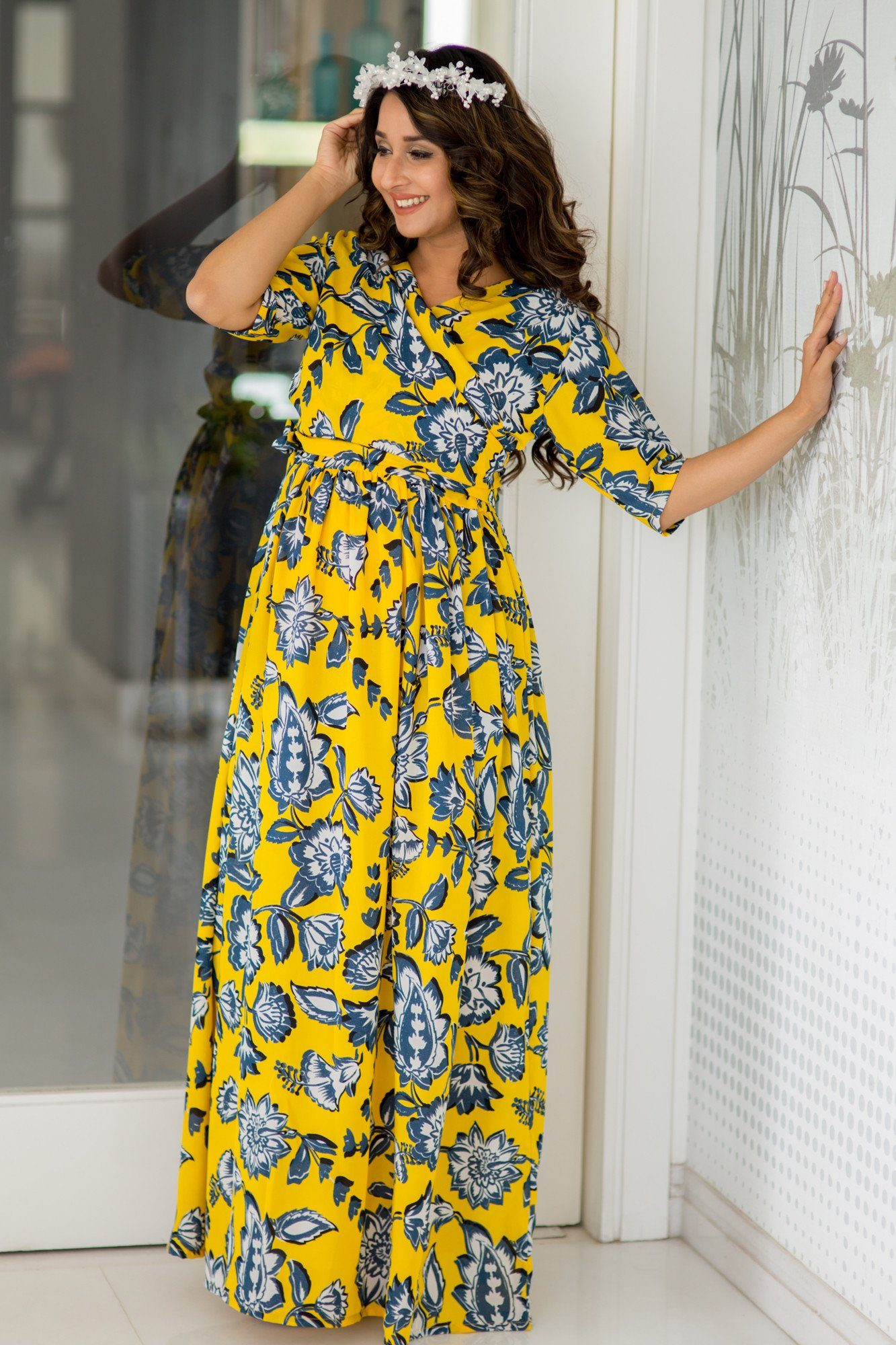 Happy Yellow Floral Maternity & Nursing Wrap Dress