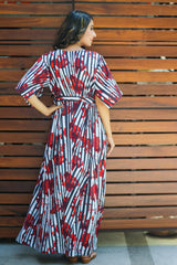 Striped Scarlet Rose Maternity Kimono Dress