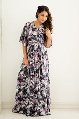 Lilac Blossom Maternity & Nursing Wrap Dress