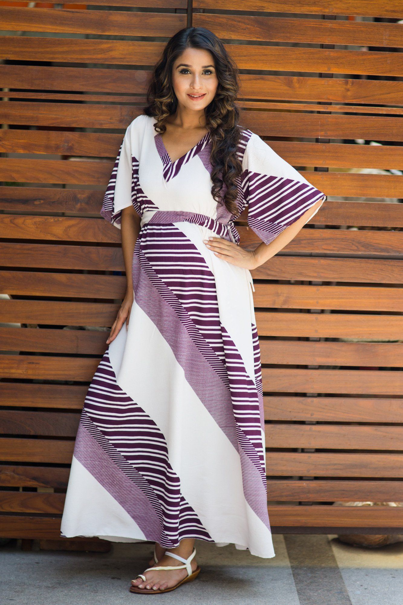 Violet Striped Maternity Kimono Dress
