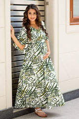 White & Green Abstract Maternity Kimono Dress