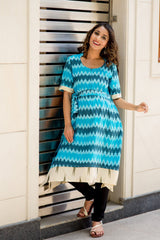 Shades Of Blue Ikat Front Zip Nursing Kurta