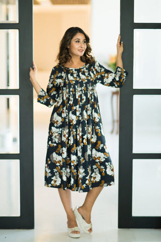 Floral Pintucks Nursing Dress