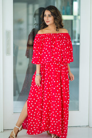Cherry Red Off-Shoulder Maternity Maxi Dress