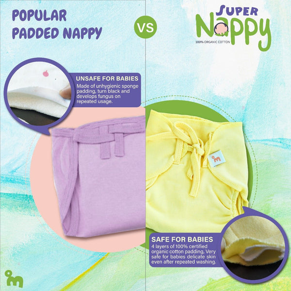 SuperNappy - Organic cotton Nappy with SUPERDRYFEEL Layer- Pack of 12