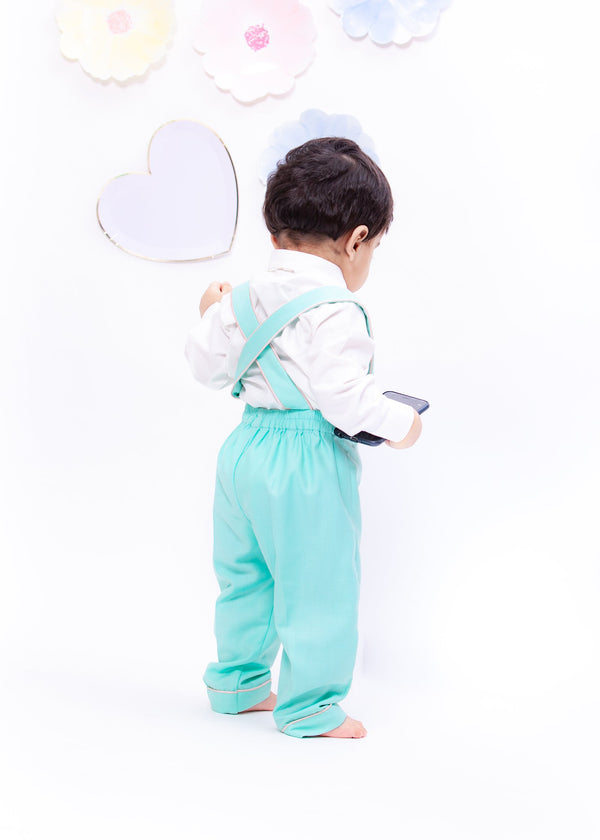 White Shirt with Suspenders and Aqua Pant