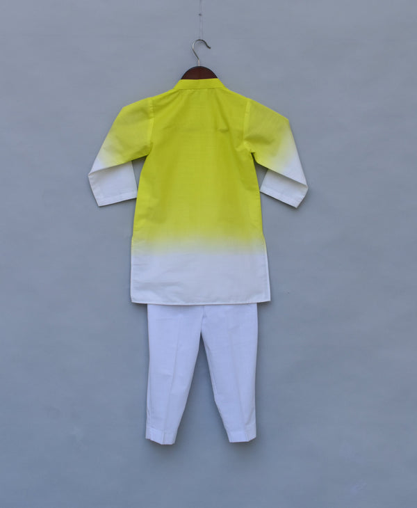 Yellow & White Kurta with Pant