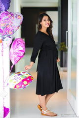 Classic Black Wrap Tie Maternity & Nursing Dress
