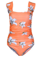 Apricot Floral Maternity Swimsuit - MOMZJOY.COM