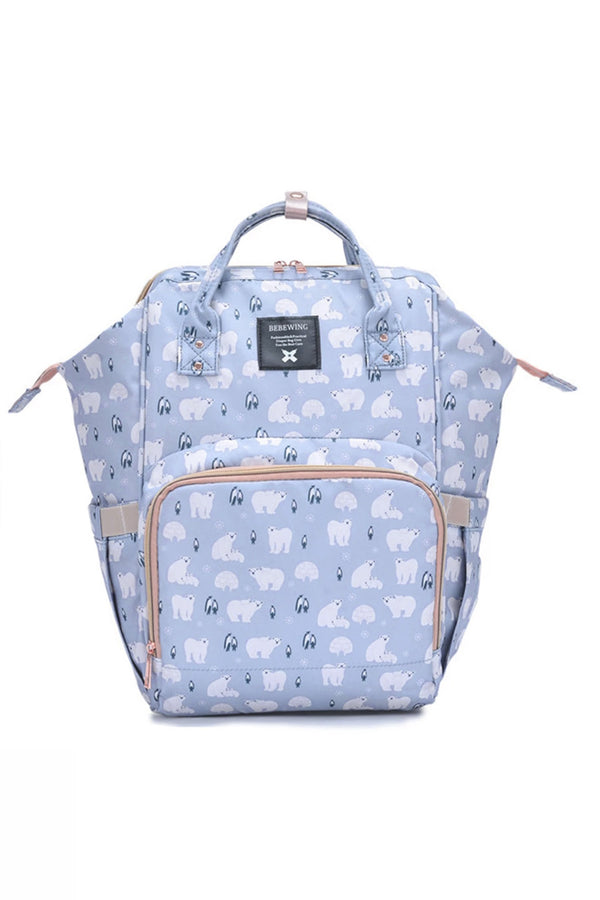 Light Blue Polar Bear Multifunctional Travel Backpack Diaper Bag