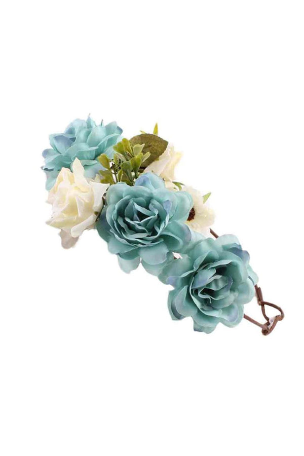 Blue Floral Wreath Mom & Baby Matching Floral Headbands (2 pcs) - MOMZJOY.COM