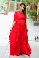 Luxe Candy Red Bubble Georgette Maternity Dress With Sleeves - MOMZJOY.COM
