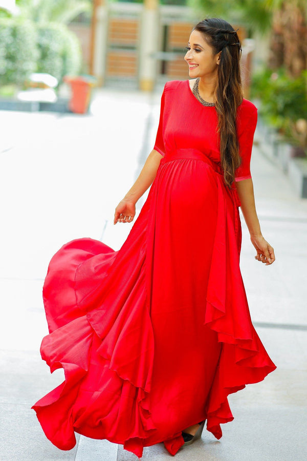 Luxe Candy Red Bubble Georgette Maternity Dress With Sleeves