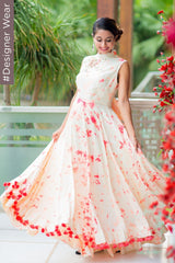 Peach & Off White Bomb Dye Bow Designer Maternity Maxi (MADE TO ORDER)