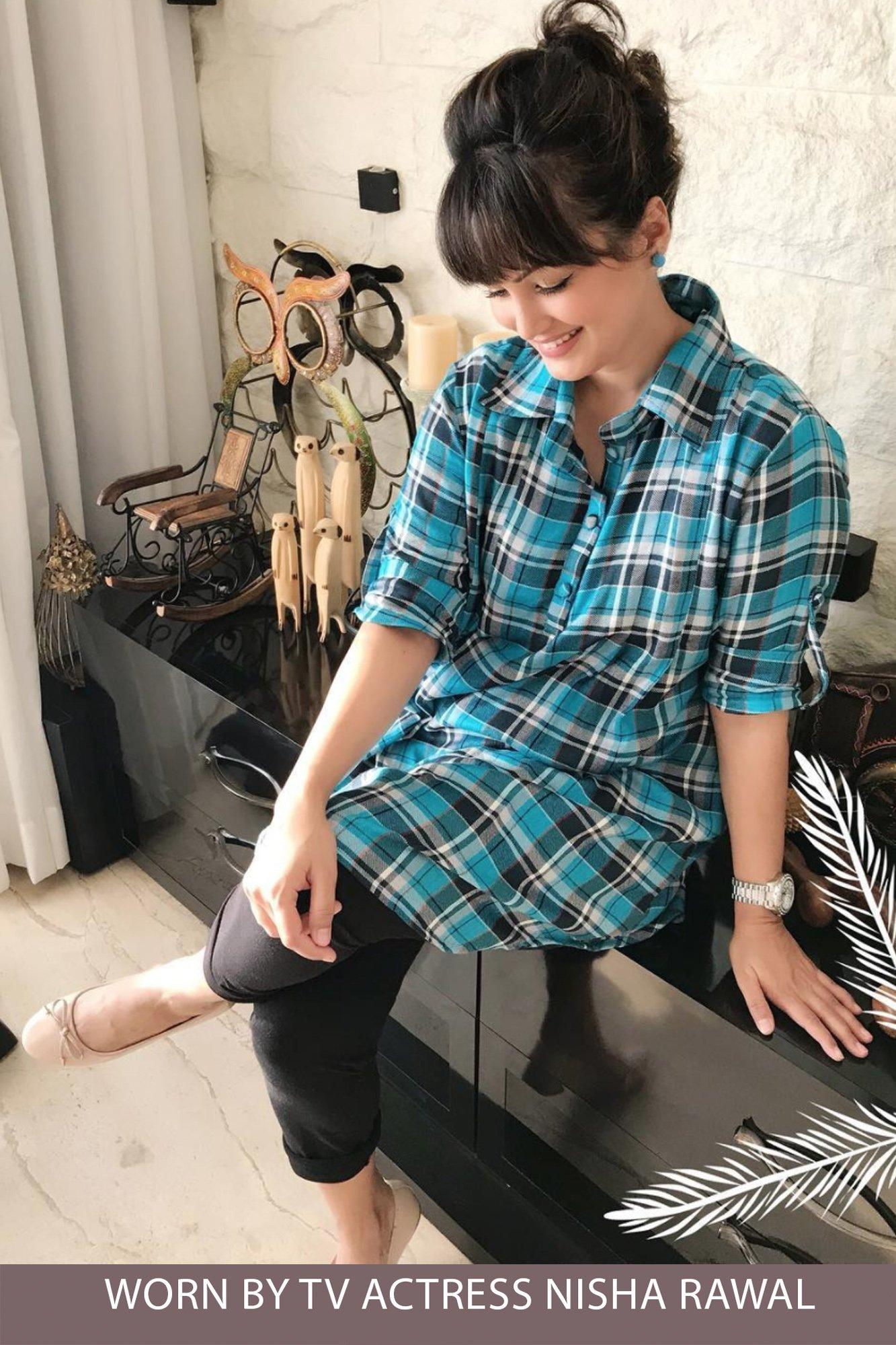 Blue Plaid Versatile Maternity & Nursing Shirt Dress