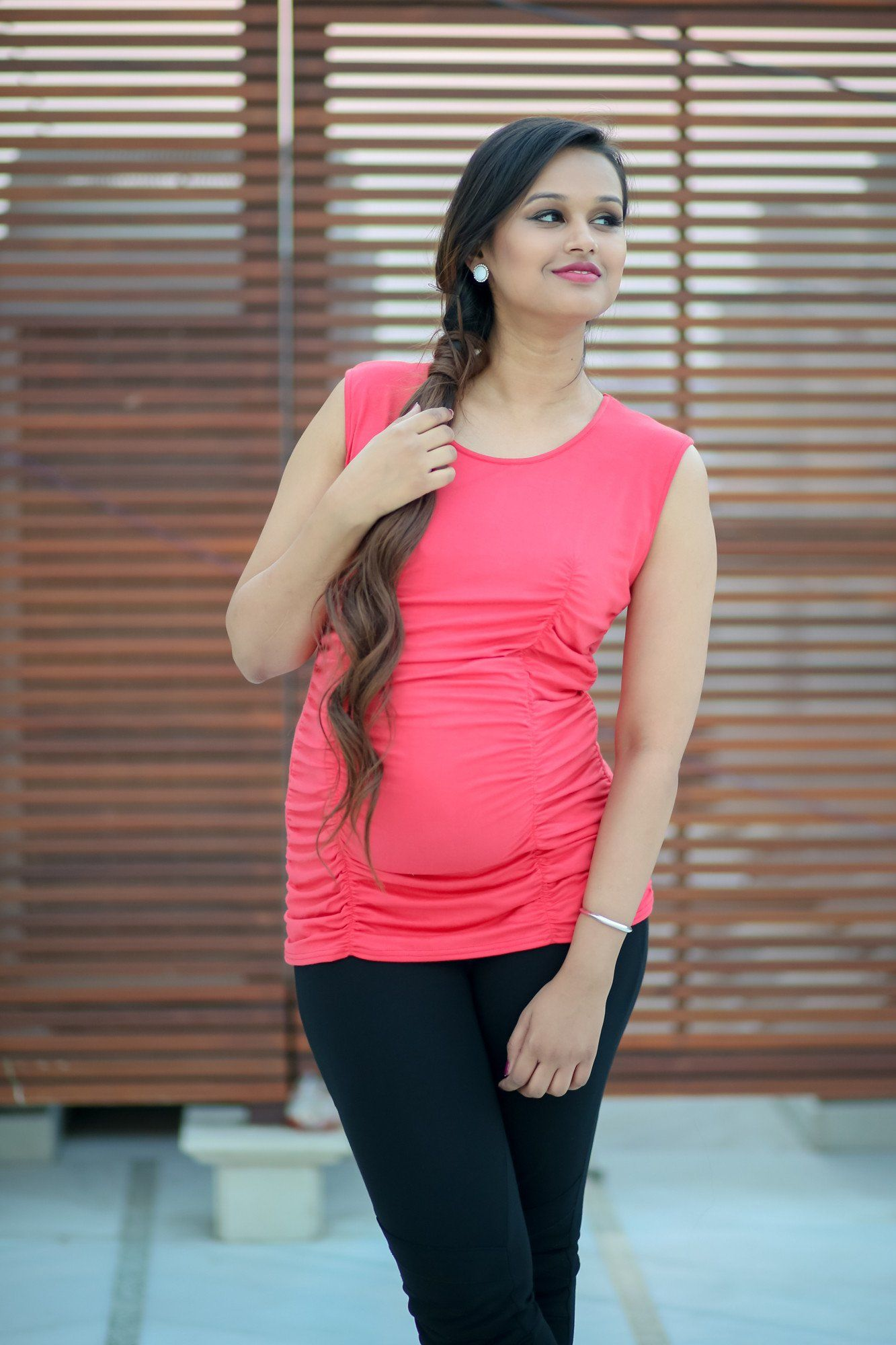 Gathered Coral Maternity Tank Top
