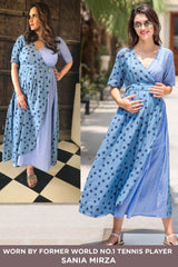 Cotton Sky Polka Maternity & Nursing Wrap Dress