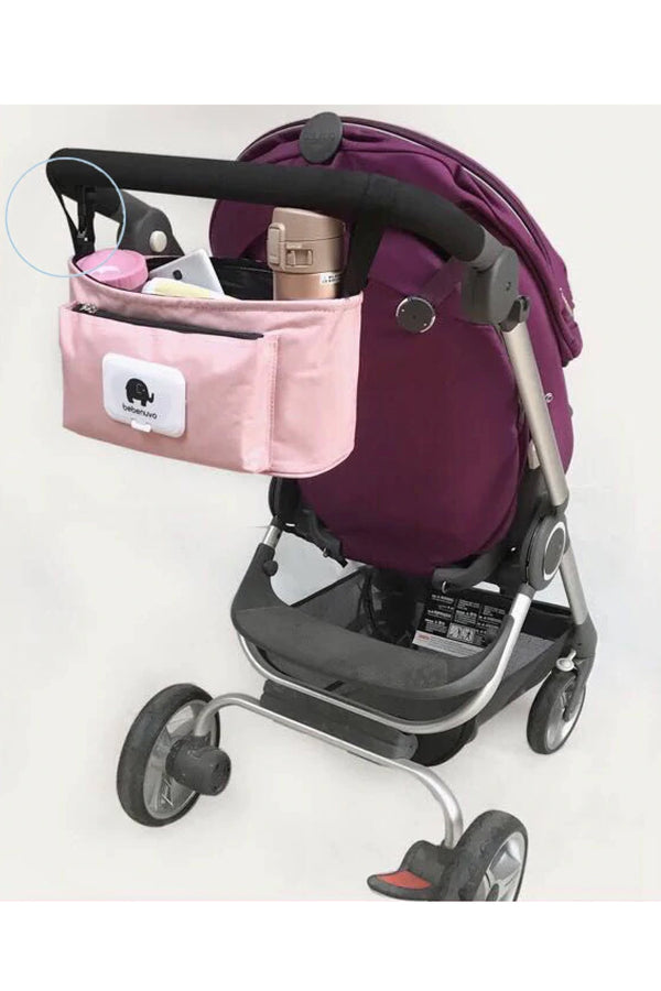 Pink Multifunctional Baby Stroller Organizer Travel Diaper Bag - MOMZJOY.COM