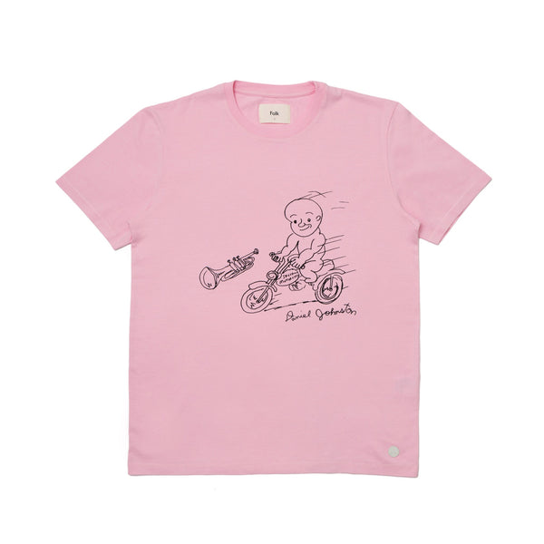 Folk x Daniel Johnston SS Tee - Motorbike in Pink