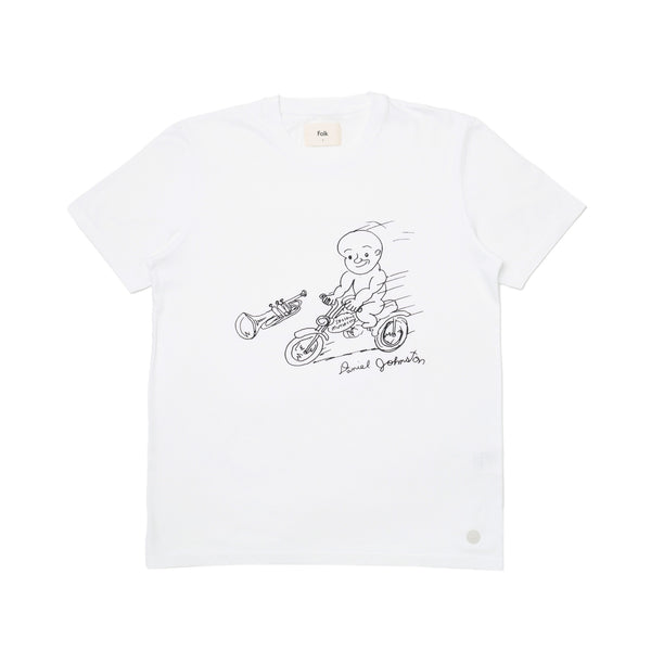 Folk x Daniel Johnston SS Tee - Motorbike in White