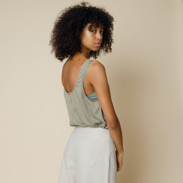 Scoop Back Vest - Sunbleached Olive