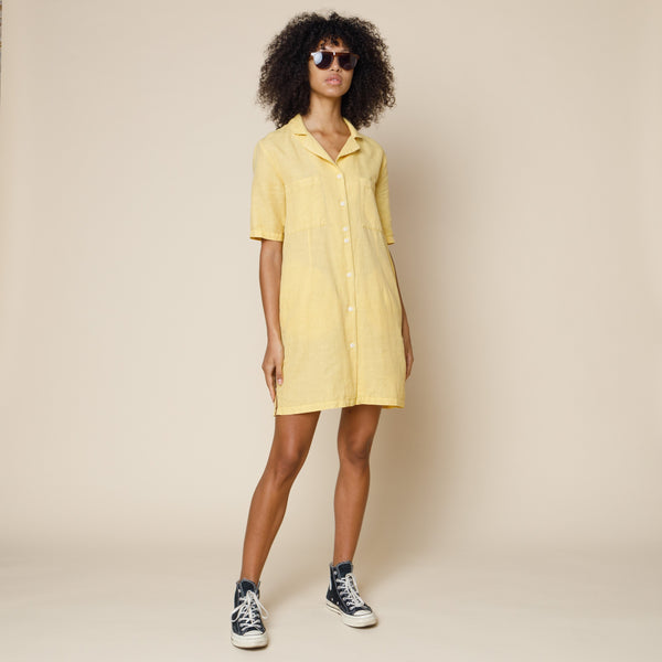 Soft Collar Dress - Washed Ochre
