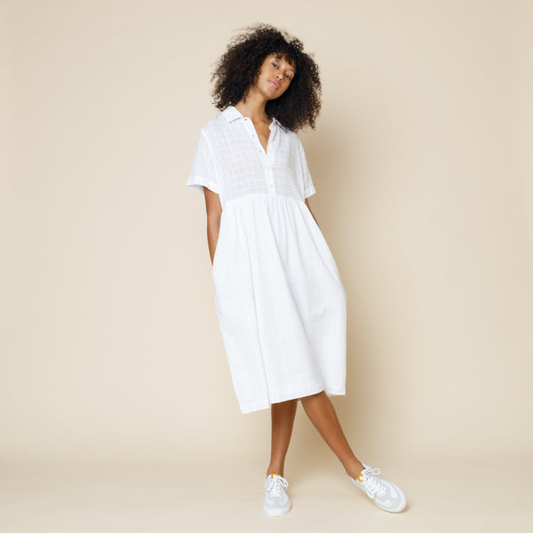 Loom Shirt Dress - Natural Windowpane Check