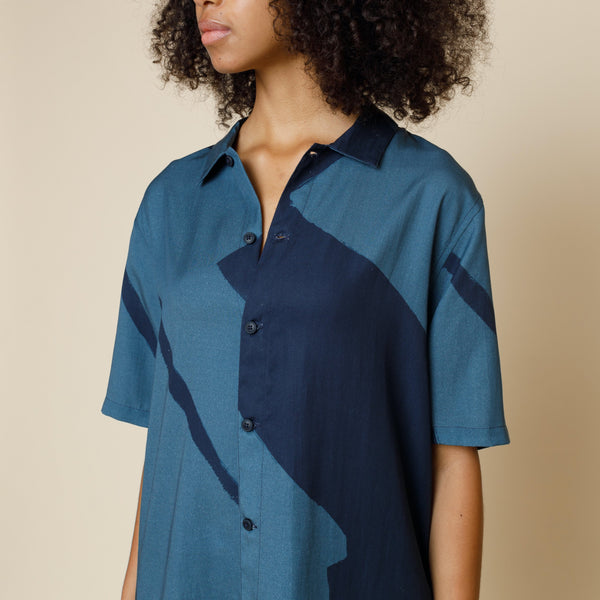 Gabe Shirt - Boarder Print Navy