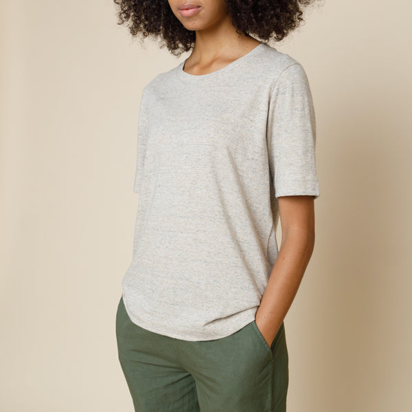 Cotton Cupro Tee - Clay Melange
