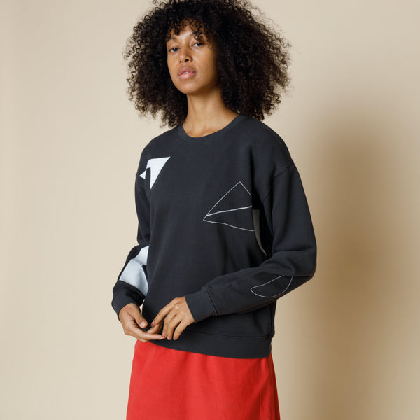 Scatter Stitch Sweat - Soft Black Ecru