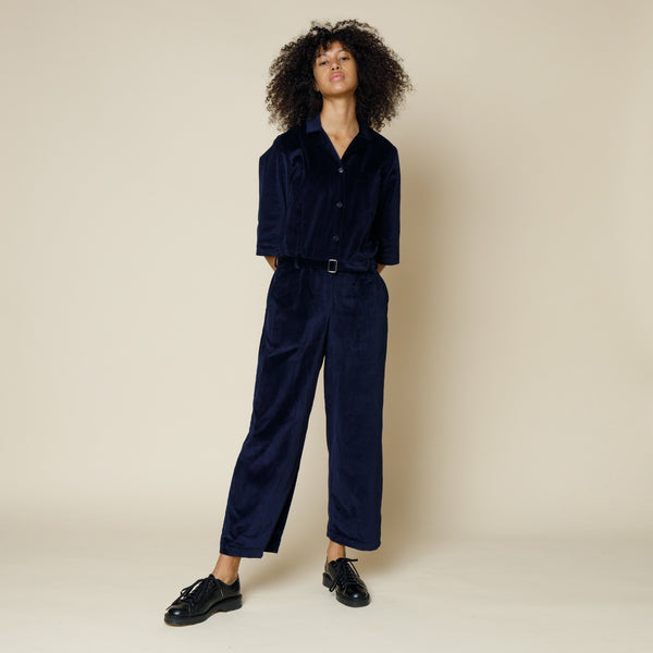 Soft Collar Jumpsuit - Navy Velvet