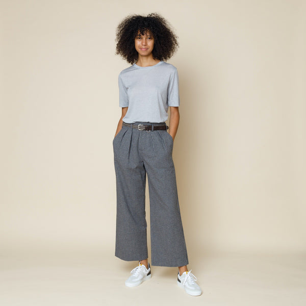 Double Pleat Tailored Trouser - Navy Mini Check