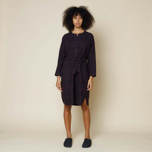 Stack Shirt Dress - Aubergine Check