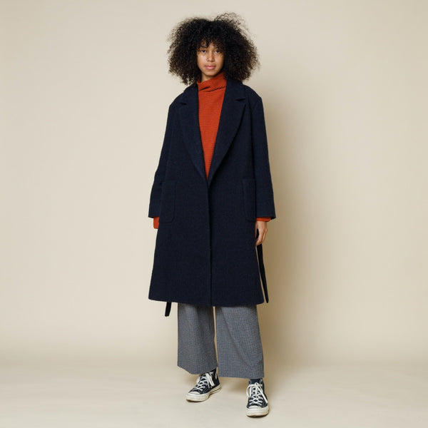 Robe Coat - Brushed Navy