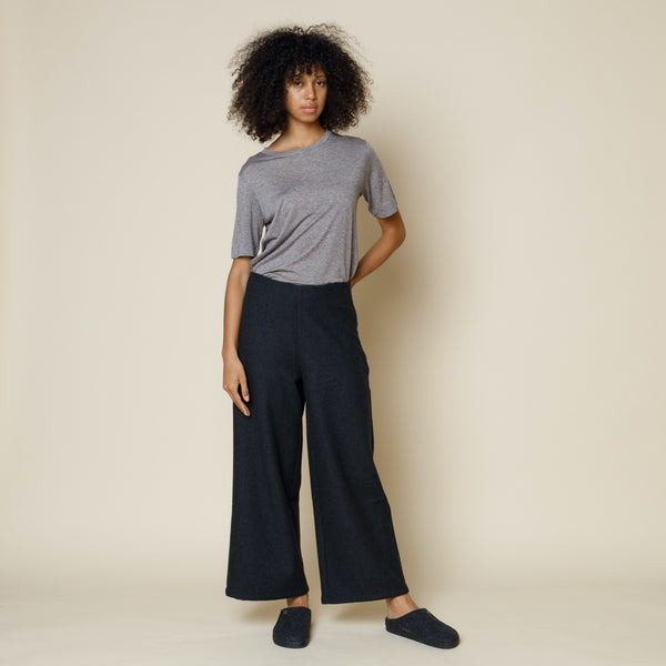 Clean Wide Pant - Charcoal Twill Wool