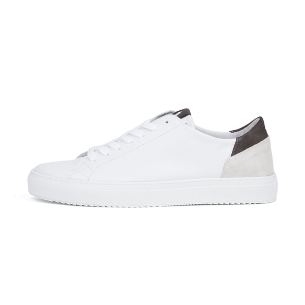 Mid Leather Sneaker - White Charcoal