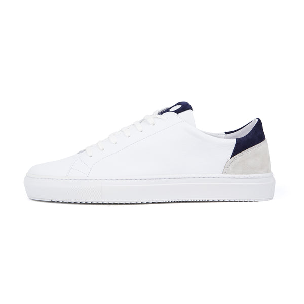 Mid Leather Sneaker - White Navy